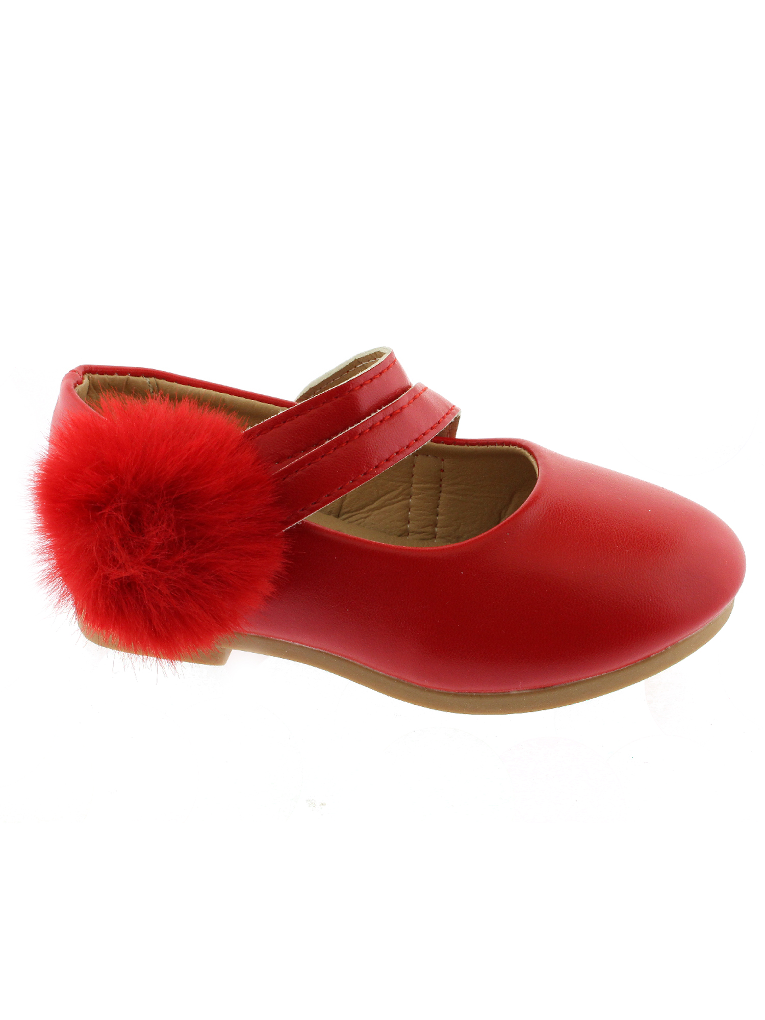 Kate Girls Red Double Strap Pom-Pom Mary Jane Shoes