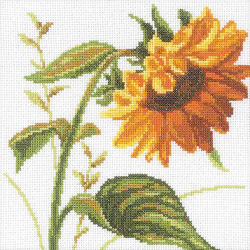 """RTO Sunflowers Counted Cross-Stitch Kit, 8"""" x 8"""", 14 Count"""
