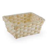 Natural Rectangular Bamboo Tray Basket - Small 5in