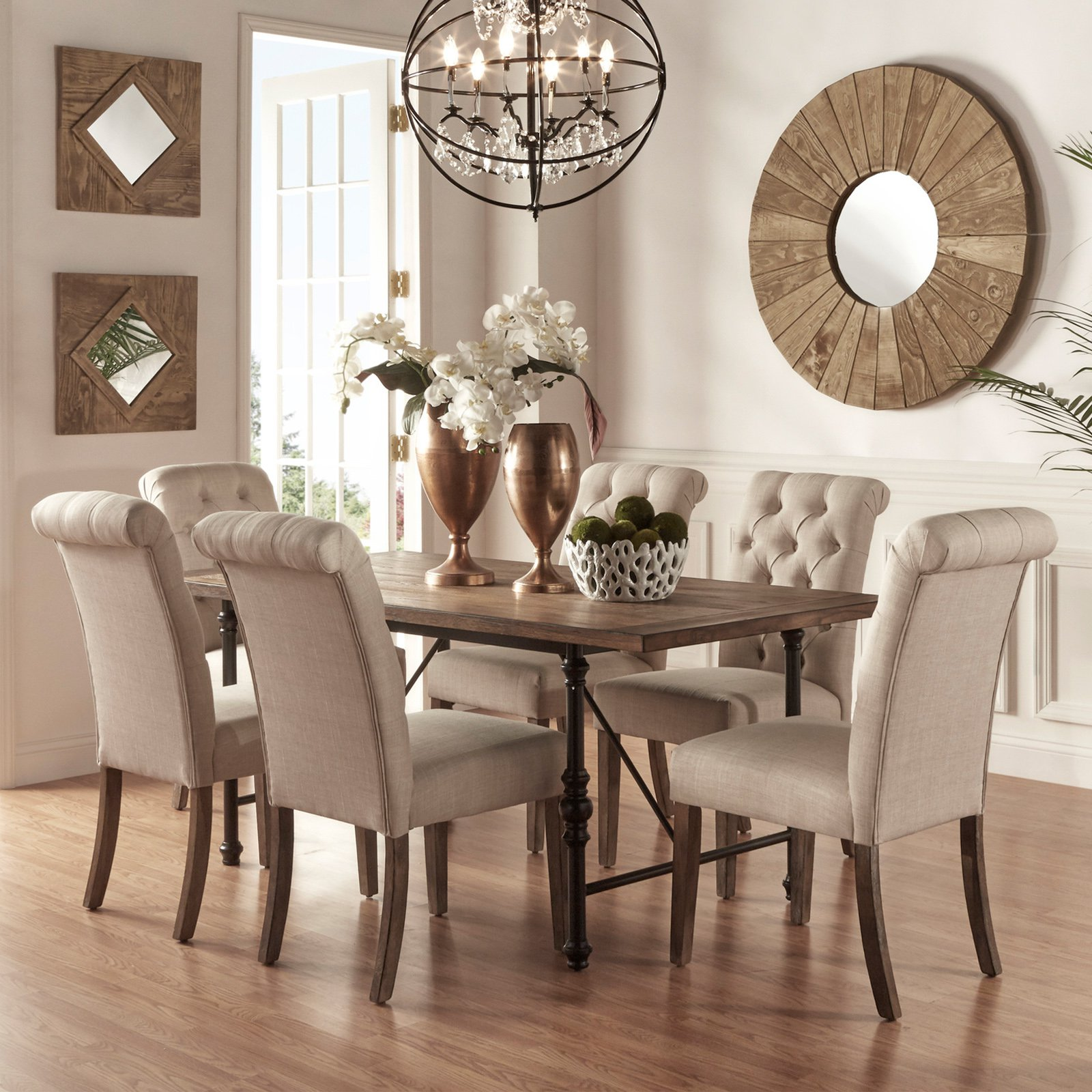 Weston Home 7 Piece Industrial Dining Set with Beige Tufted Chairs