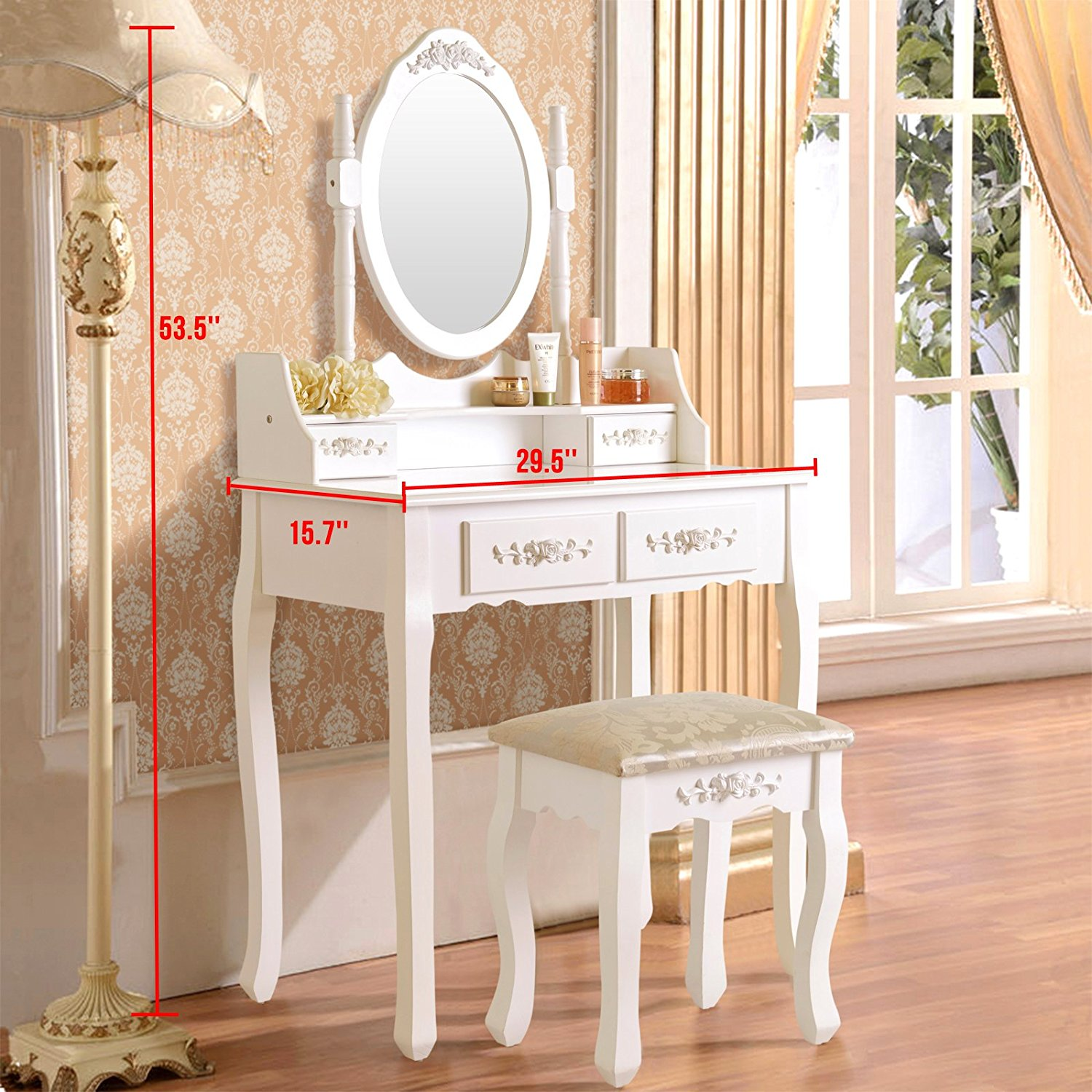Ktaxon Elegance White Dressing Table Vanity And Stool Set Wood Makeup Desk With 4 Drawers Mirror