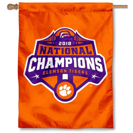 """Clemson College Football National Champions 30"""" x 40"""" Double Sided House Flag"""