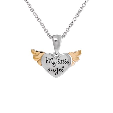 Necklaces For Little Girls (Girls' Stainless Steel Two-Tone My little angel Heart with Wings)