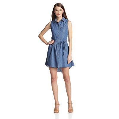 Levi's women's sleeveless button front belted dress, med ...
