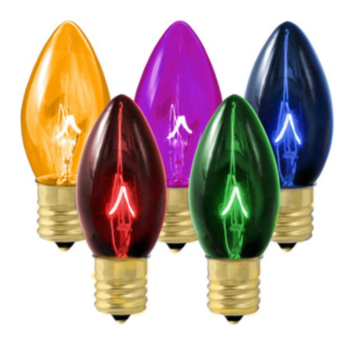 Club Pack of 100 Transparent Multi-Colored C7 Replacement Light Bulbs