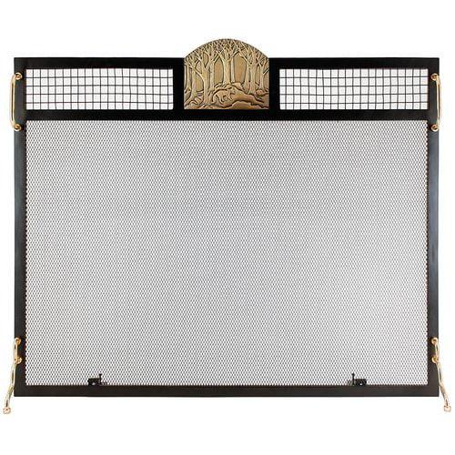 Minuteman International Forest Fox Emblem Single Panel Iron Fireplace Screen