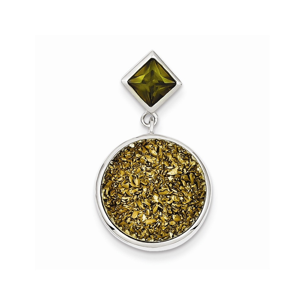 Sterling Silver Yellow Druzy & Green CZ Round Pendant.