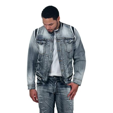 Jordan Craig Barcelona Denim Varsity Jacket (Up Varsity Jacket)