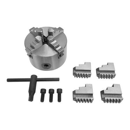 4'' Lathe Chuck 4 Jaw Self Centering Scroll Lathe Chuck Solid Jaws Lathing  Plain Back 8 Jaws Included