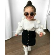 2PCS Toddler Baby Girl Autumn Winter Clothes Sweater Tops+Mini Skirt Outfits Set