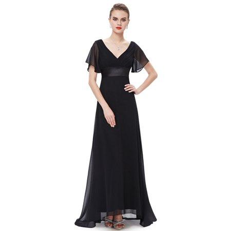 c32bab44cb7e Ever-Pretty - Ever-Pretty Womens V-Neck Chiffon Flutter Sleeve Long Evening  Bridesmaid Prom Party Dresses for Women 09890 Black US6 - Walmart.com