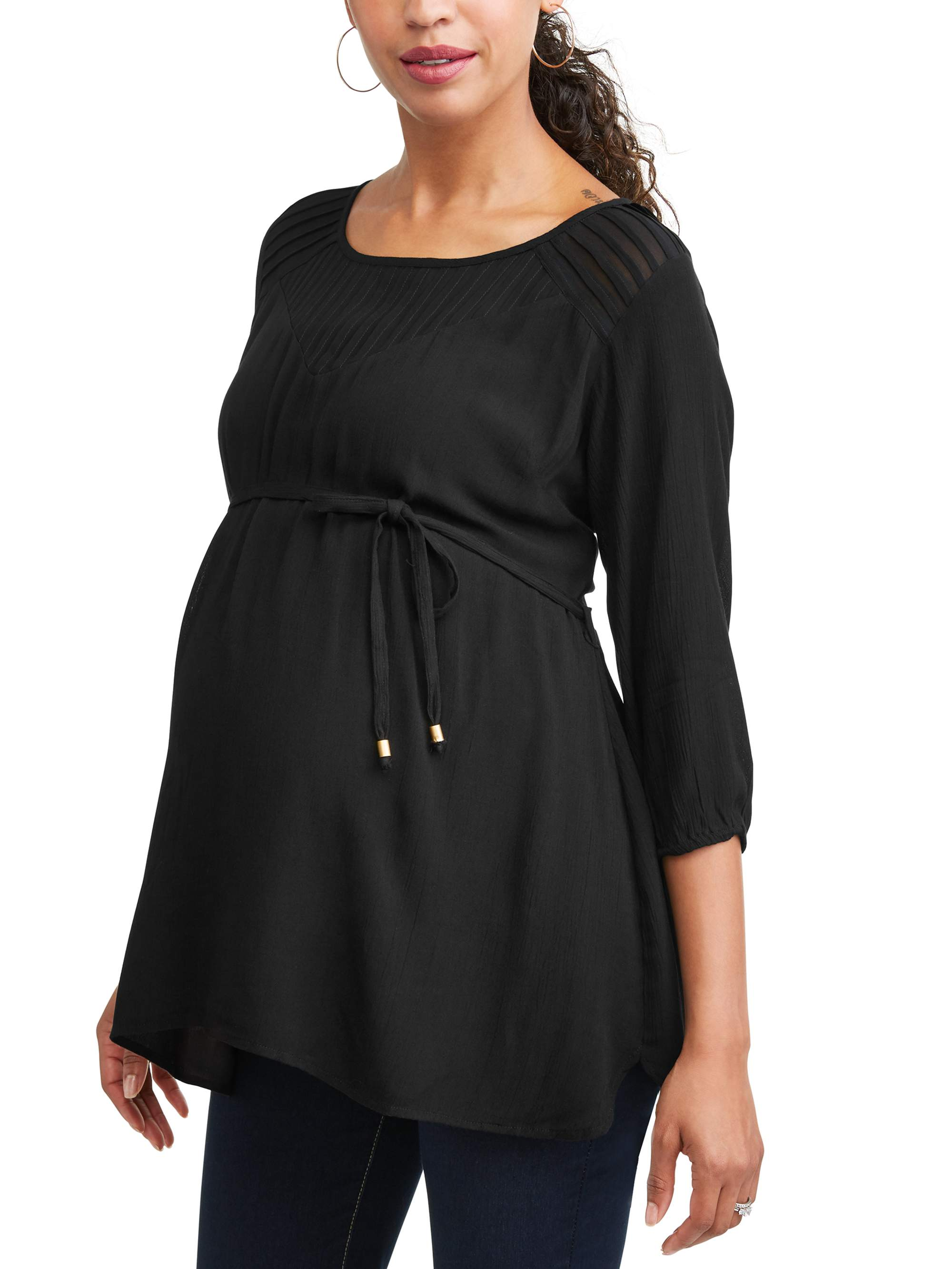 Maternity Pleated Tie Front Tunic - Available in Plus Sizes