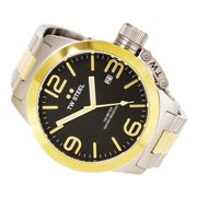 CB42 Men's Canteen Bracelet Black Dial Two Tone Yellow Gold Steel Watch