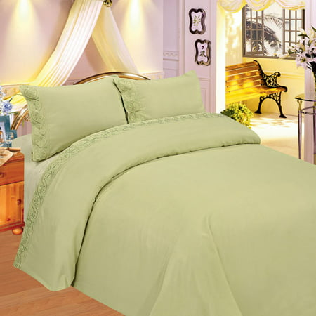 Image of At Home Embroidered Scroll Microfiber Bedding Sheet Set