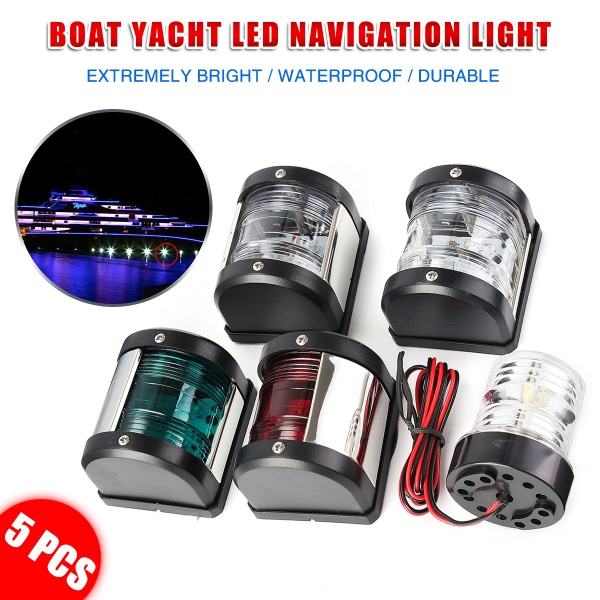 Marine Boat Yacht S.S 12V LED Red All Round 360 Degree Navigation Light