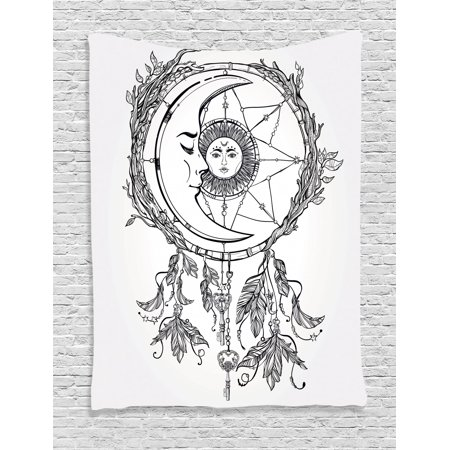 9bacf380d8 Mystic Tapestry, Tribal Ethnic Dreamcatcher Feathers with Sun and Moon  Inside Cosmos Artsy Image, Wall Hanging for Bedroom Living Room Dorm Decor,  Black ...