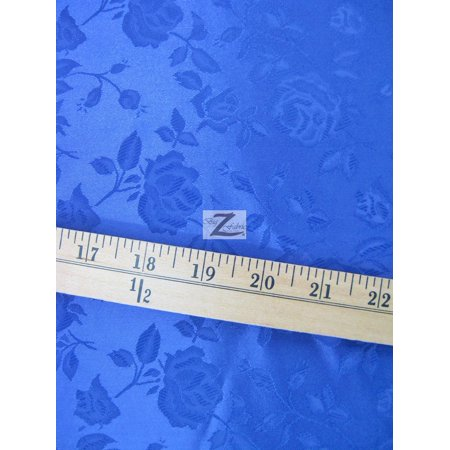 Floral Rose Jacquard Satin Fabric / Royal Blue / Sold By The Yard