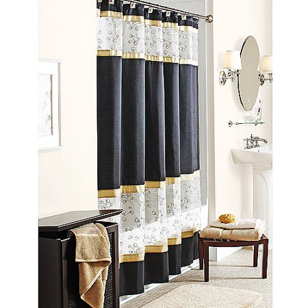 Better homes and gardens embroidered blossom fabric shower curtain for Better homes and gardens shower curtains