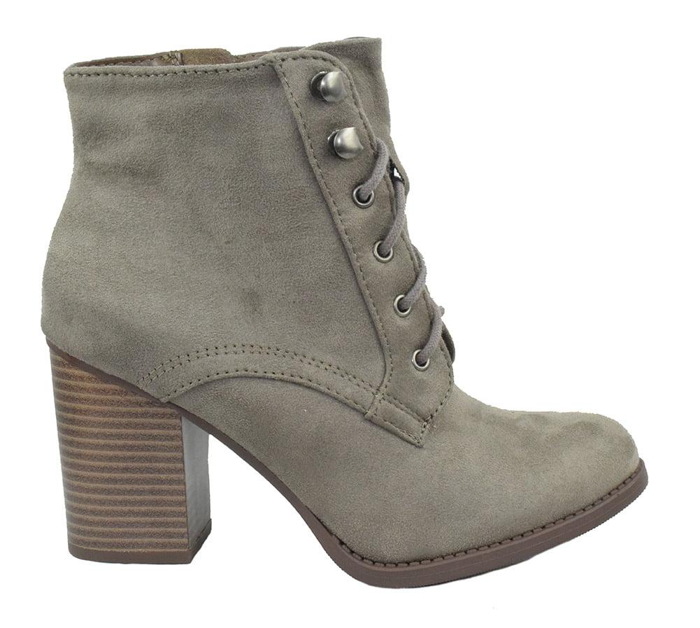 b84062759cd9 soda - Lurk Combat Ankle Boots Soda Lace Up Booties Women Thick Heel Side  Zipper Suede Black - Walmart.com
