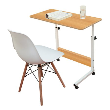 DL furniture - Adjustable Desk Laptop Desk Table With 4 Wheels Flexible Wooden Stand Desk Cart Tray Side Table for Bed - Natural Wood Tone