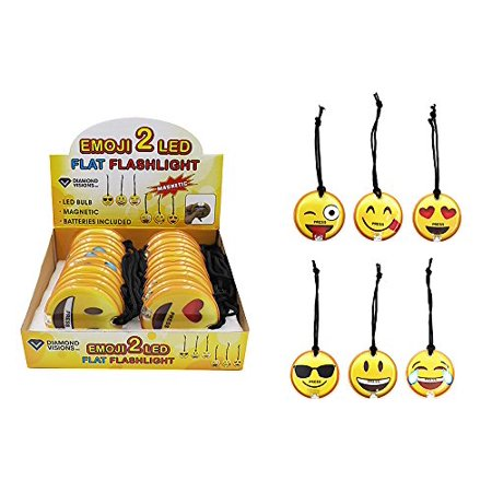 Flat Flashlights (Diamond Visions 08-1856 Flat LED Emoji Flashlight with Magnet MultiPack in Assorted Designs (2)