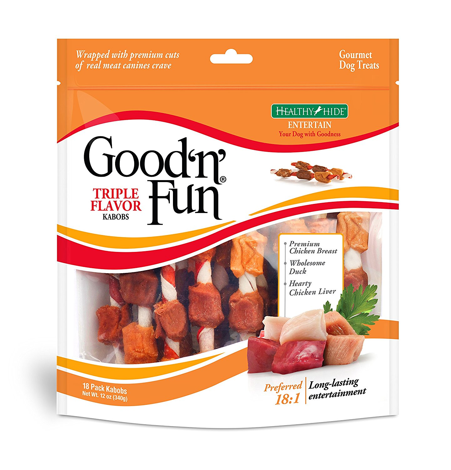 Good'n'Fun Triple Flavored Rawhide Kabobs Dog Treats, 12-Ounce