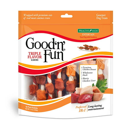Good 'n' Fun Triple Flavored Kabobs Rawhide Dog Chews, 18 Count (12 Oz.) Flavored Chewy Dog Treats