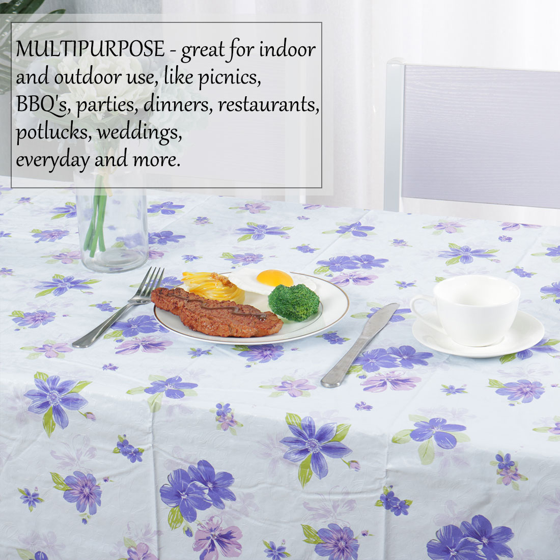 """Tablecloth PVC Oil Stain Resistant Wedding Camping Table Cloths 54"""" x 72"""",#9 - image 3 de 7"""