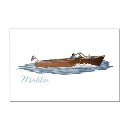 Malibu  California   Chriscraft Boat   Icon   Lantern Press Artwork  12X8 Acrylic Wall Art Gallery Quality
