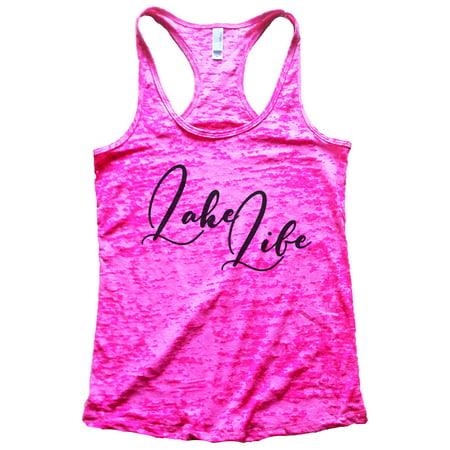 """Women's Cute Burnout """"Lake Life"""" Vacation Tank Top - Outdoors Gift Medium, Shocking Pink"""