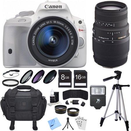Canon EOS Rebel SL1 Digital SLR Camera White w/ 18-55mm + 70-300mm Lens Bundle