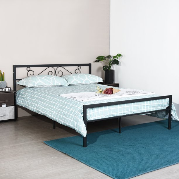 Uhomepro Queen Size Metal Bed Frame For, Queen Metal Bed Frame With Headboard No Footboard