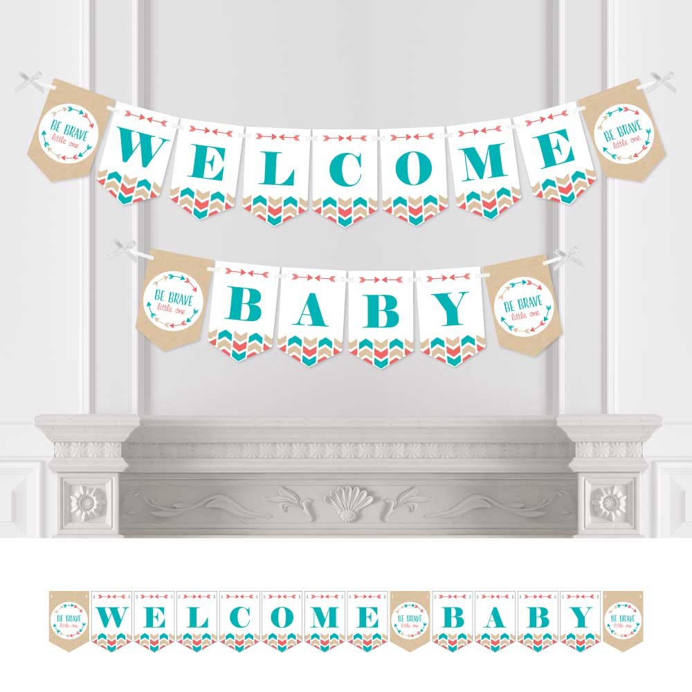 Be Brave Little One Boho Tribal Baby Shower Bunting Banner Aztec Tribal Party Decorations Welcome Baby Walmart Com Walmart Com