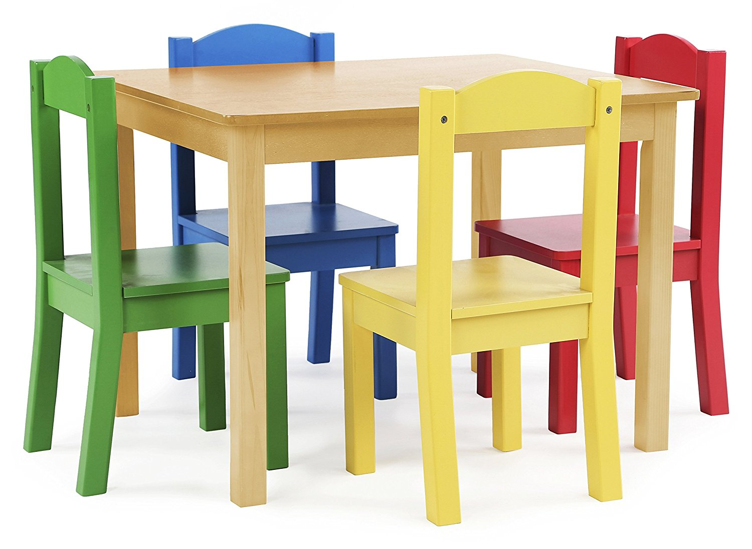 Tot Tutors Kids Wood Table and 4 Chairs Set, Natural/Primary ...