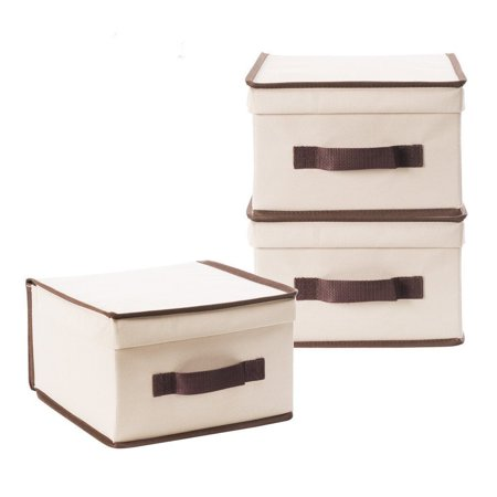 StorageManiac Medium Polyester Canvas Storage Box with Lid, Foldable Storage Bins, Pack of 3