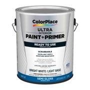 ColorPlace Ultra Interior Paint & Primer, Semi-Gloss, Bright White/Light Base, 1 Gallon
