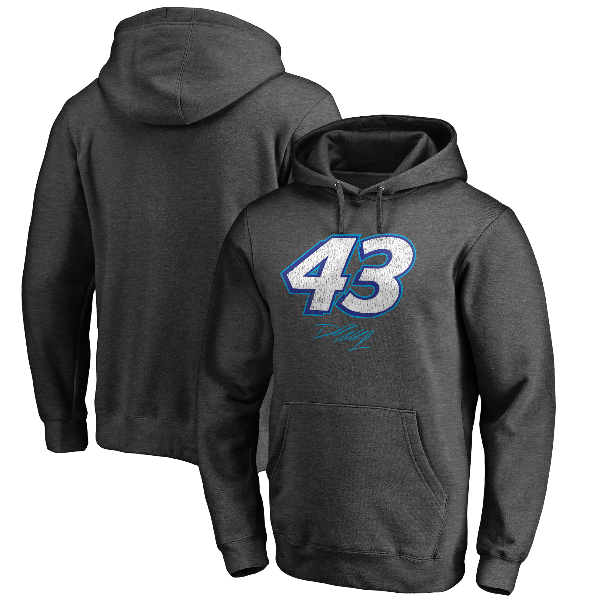 Bubba Wallace Fanatics Branded Signature Lock-Up Pullover Hoodie - Heather Gray