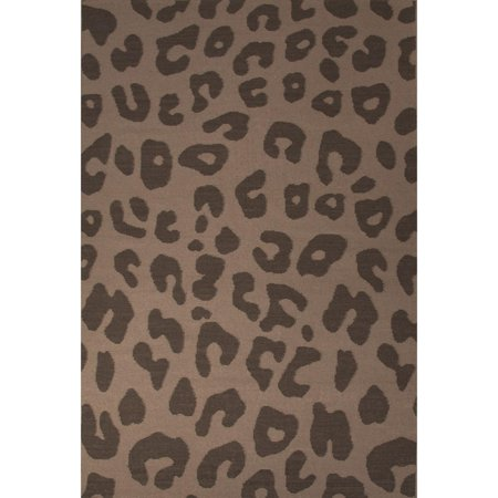8 X 10  Coffee Bean And Light Cream Jaguar Animal Print Flat Weave Hand Woven Wool Area Throw Rug