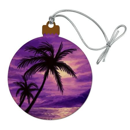 Purple Sunset Beach Palm Tree Hawaii Paradise Wood Christmas Tree Holiday (Hawaii Christmas)
