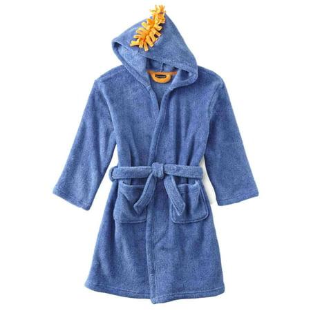 Boys Plush Blue & Orange Hooded Mohawk Bathhrobe Bath Robe Housecoat