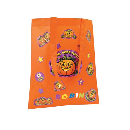 Fun Express - Diy Christian Pumpkin Treat Bag for Halloween - Craft Kits - Apparel Craft Kits - Bag - Halloween - 6 Pieces (Diy Healthy Halloween Treats)