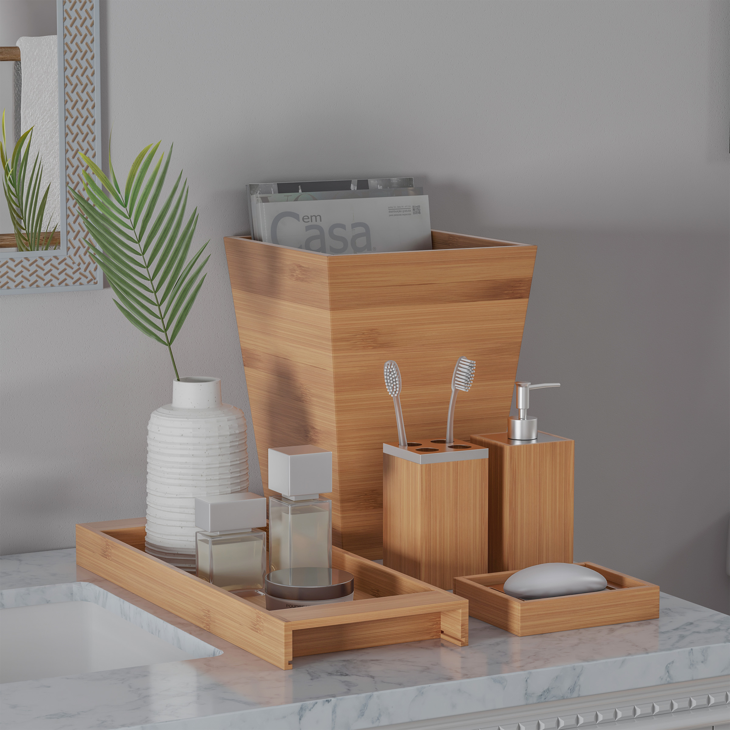 Bamboo Bath Accessories-5-Piece Set Natural Wood Tray ...