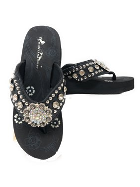 dcbe861cbaff Product Image Montana West Women Flip Flops Wedged Bling Sandals Large  Floral Concho Black
