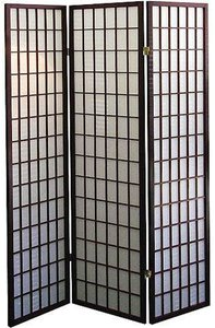 legacy decor 3 panel japanese oriental style room screen divider espresso color