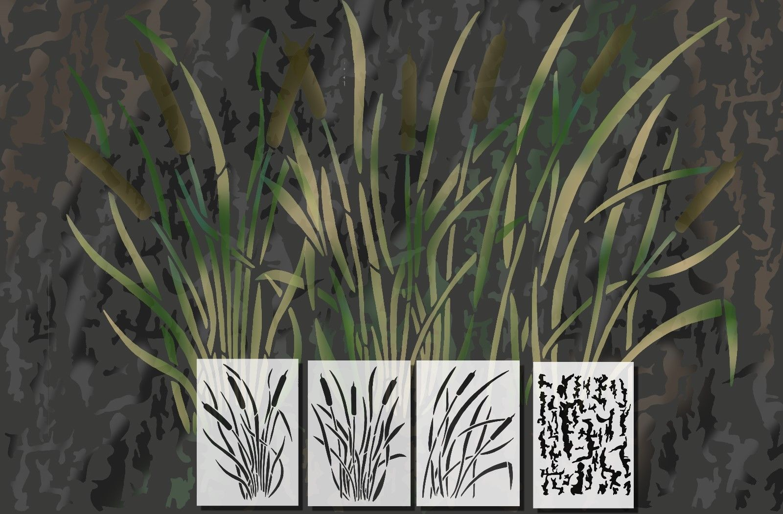 photograph relating to Printable Camo Stencils known as Spray Paint Camouflage Stencils Camo Jon Duck Boat Wanting CATTAIL 4 PACK Established