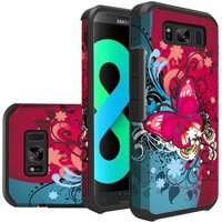 For Samsung S8 Plus Rubberized Design CaseHybrid - Butterfly Bliss