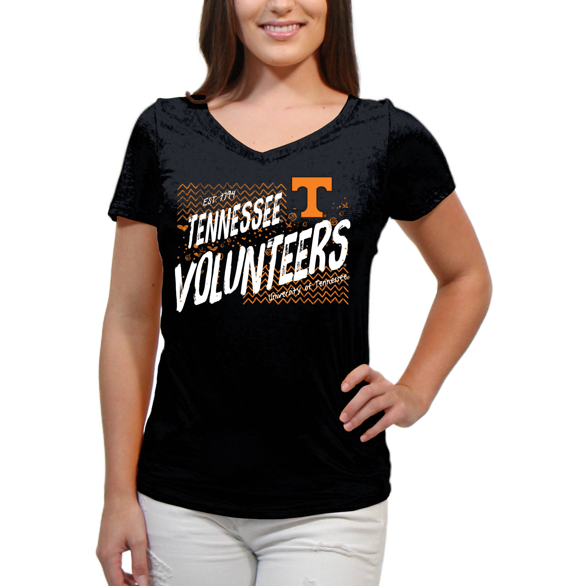 Tennessee Volunteers Scatter Doodle Women'S/Juniors Team Short Sleeve V Neck Tee Shirt