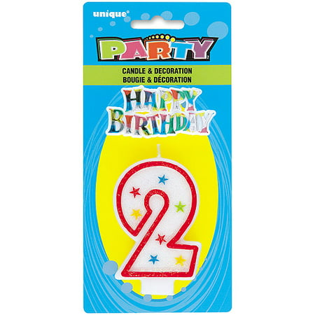 Number 2 Birthday Candle And Cake Topper