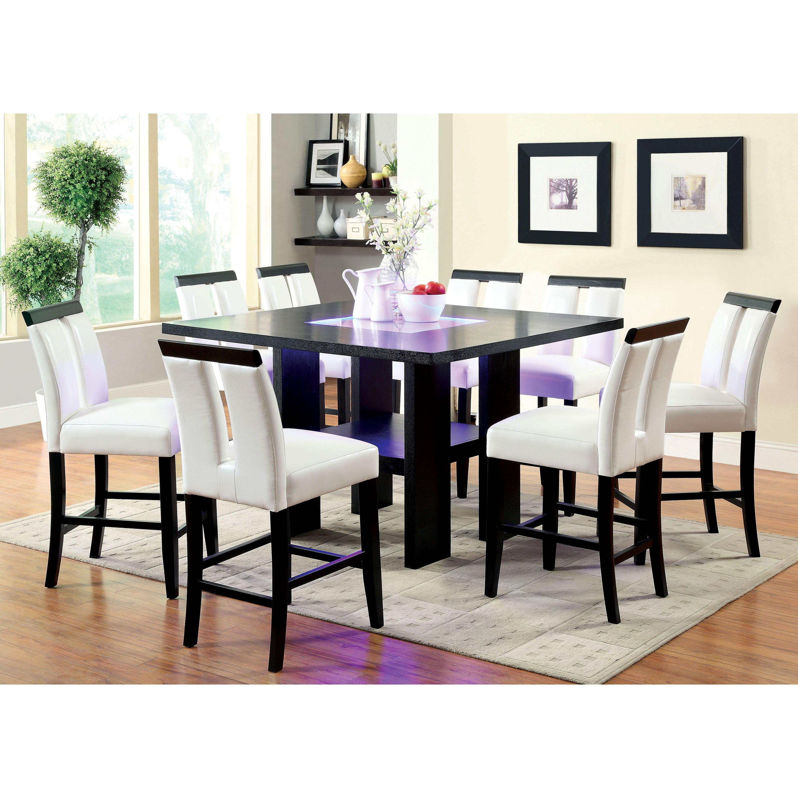 Furniture of America Luminate Contemporary 9 Piece Illuminating Counter  Height Dining Set