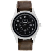 Aviator Watch, Stainless Steel Case and Leather Band for Men, Free Leather Wallet with Purchase Made in the USA - Silver / Brown